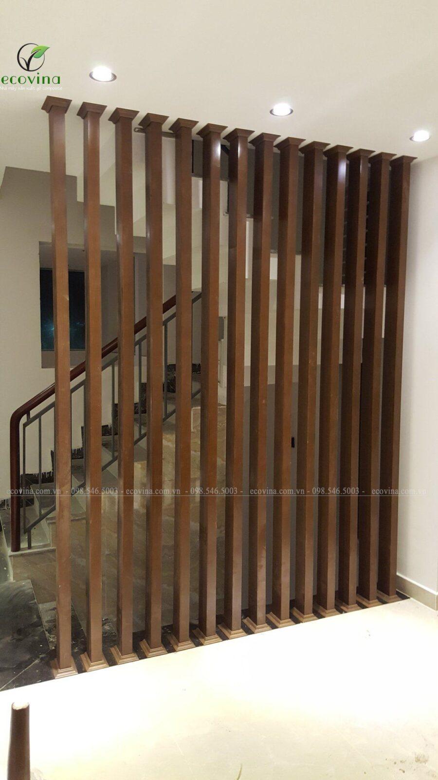 Mẫu một vách ngăn gỗ nhựa cầu thang Ecovina