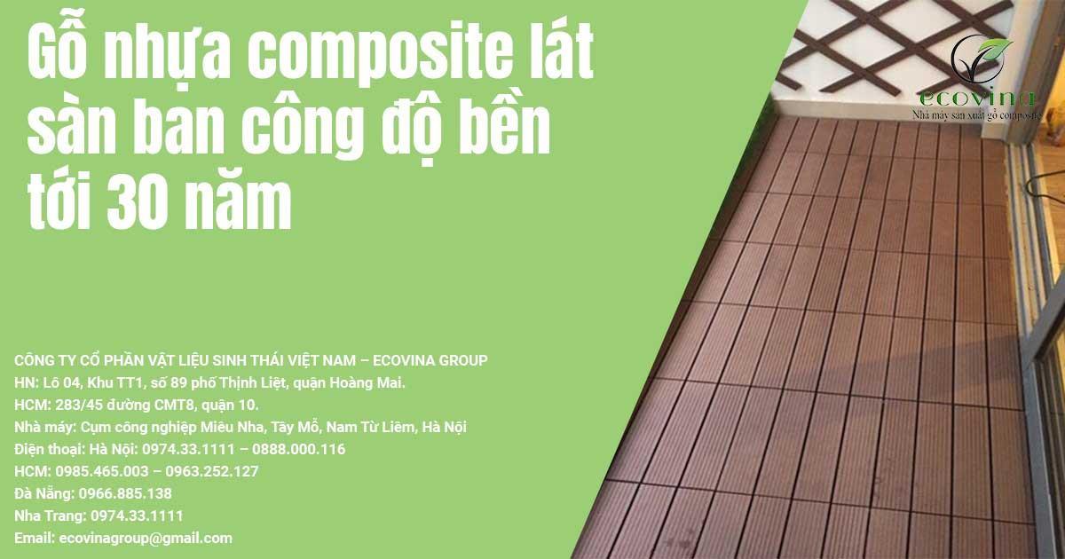 Gỗ nhựa composite lát sàn ban công độ bền tới 30 năm