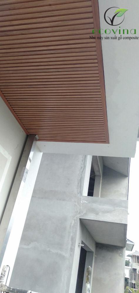 Công trình thi công trần nan gỗ nhựa composite tại Hà Nội