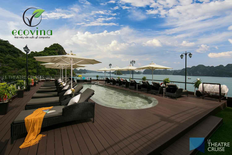 Công trình hồ bơi, sàn ngoài trời gỗ nhựa composite Ecovina