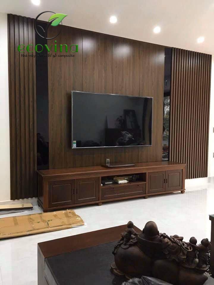 Mẫu ốp tường gỗ nhựa trang trí phòng khách từ ECOVINA