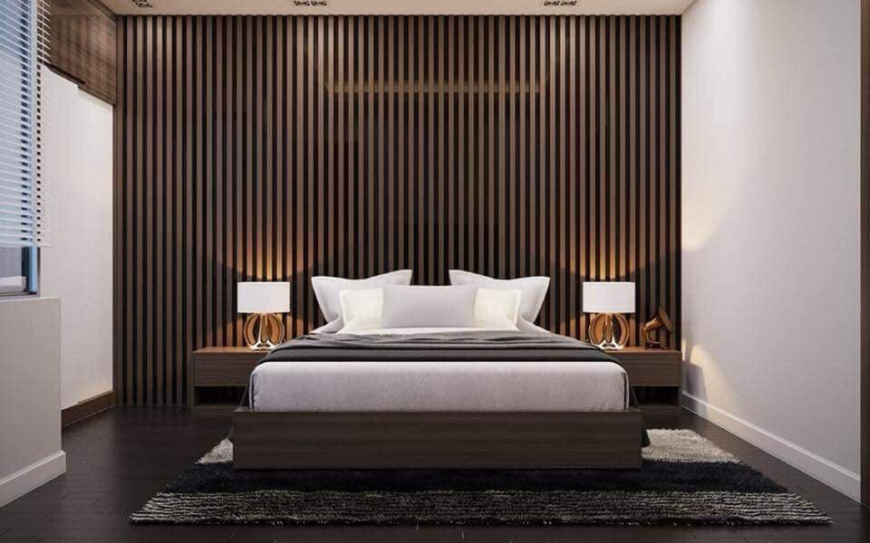 Ốp tường gỗ nhựa cho phòng ngủ