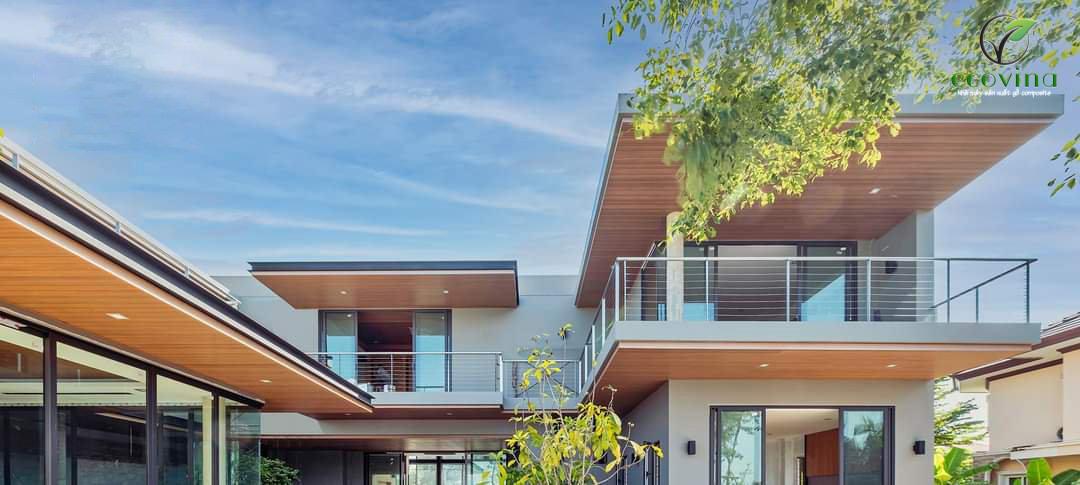 Thiết kế ốp trần gỗ nhựa ngoài trời cho Villa
