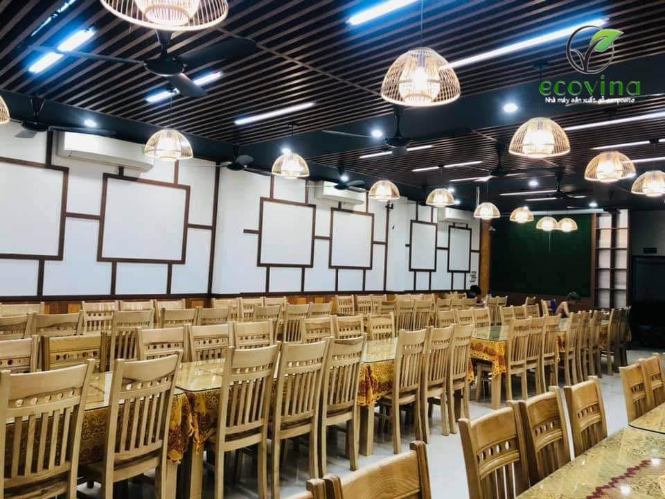Thi công trần nan gỗ nhựa composite tại Vân Dương Bắc Ninh